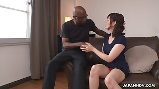 Nerdy bald black stud enjoys cute Japanese unspecific Tomoka Sakurai flashing her cunt