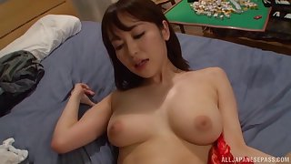 Natural tits Asian model cherishing her horny guy with blowjob