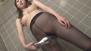 Asian babe in transparent clothes and the kinky bathroom session