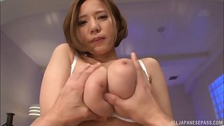 Buxom Asian babe in sexy white lingerie fucking in POV