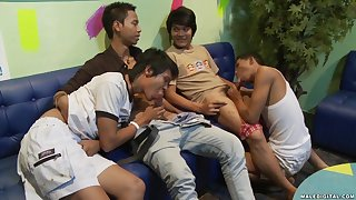 Asian teen gay orgy with horny guys in a gay bar after closing