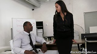 Asian office slut Mi Ha Doan gets on her knees and sucks a black cock
