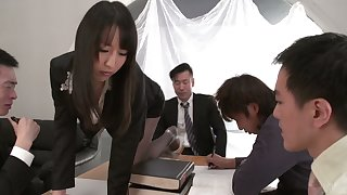 Office slut from Japan Rina Mayuzumi is fucked by boss and his partners