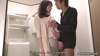 Shy married Japanese girl Noeru Mitsushima gives a blowjob to her boss