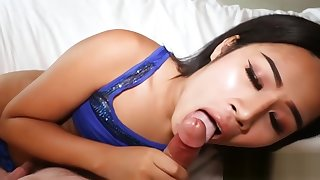 Hot ladyboy gets anal banged and cummed