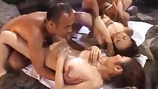 Japanese 4+4 orgy approximately an onsen