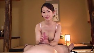 Seductive POV handjob with a busty Asian milf addicted to bushwa