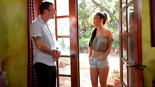 Asian masseuse Jade Kush gives a blowjob added to nuru rub down with boost grand finale