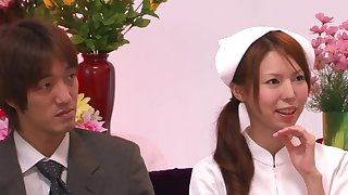 Blindfolded Japanese nurse pleasured in the matter of a lot of sex toys