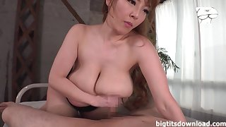 Busty Tits Asian MILF gives titjob and blowjob
