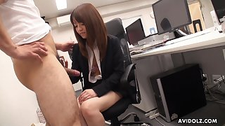 Naughty Asian co-worker Kimoko Tsuji gives a footjob and blowjob in the office